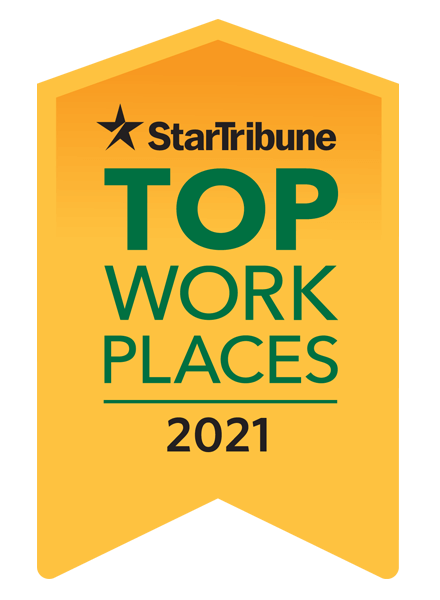 """Image of a golder badge stating """"Star Tribune Top Work Places for 2021"""""""