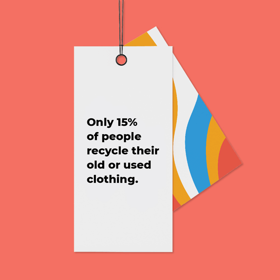 """Image of a clothing tag that states """"Only 15% of people recycle their old or used clothing"""
