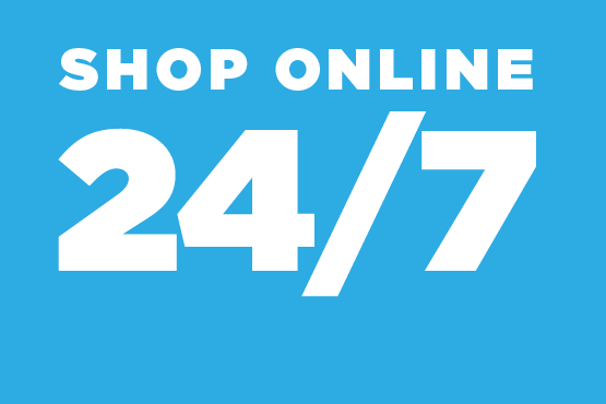 White text stating Shop Online 24/7