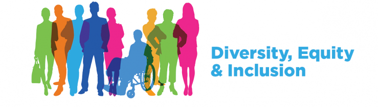 """Image of colored sillouttes of individuals with blue text on the right that states """"Diversity, Equity & Inclusion"""""""