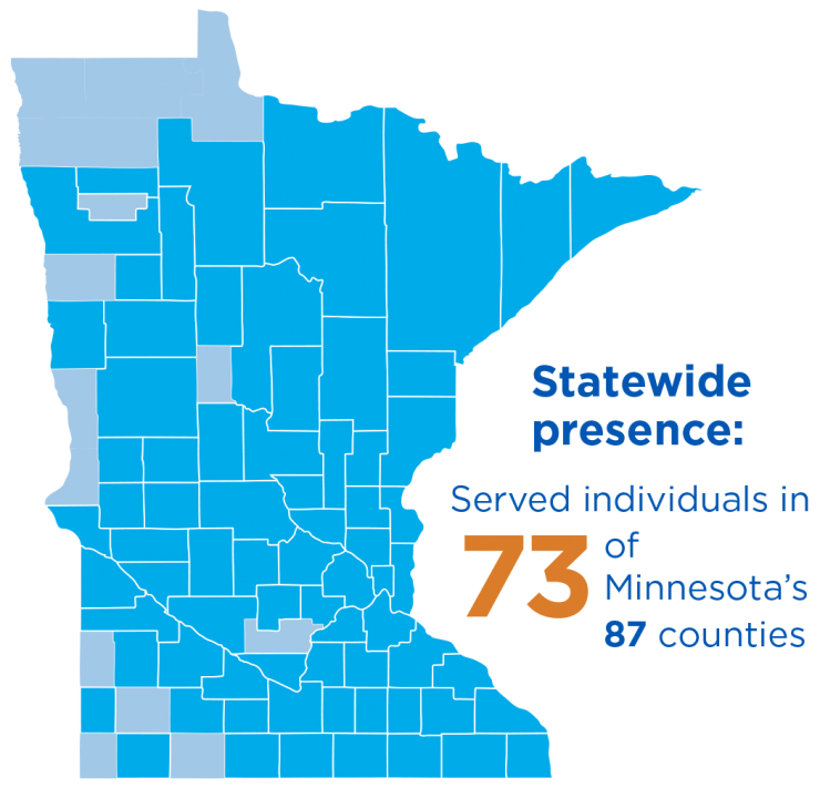 GES statewide presence: served individuals in 73 of Minnesota's 87 counties