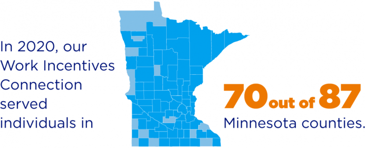 Image of the state of minnesota and the outlines of all the counties. In 2020, GESMN served people in 73 out of 87 Minnesota counties.